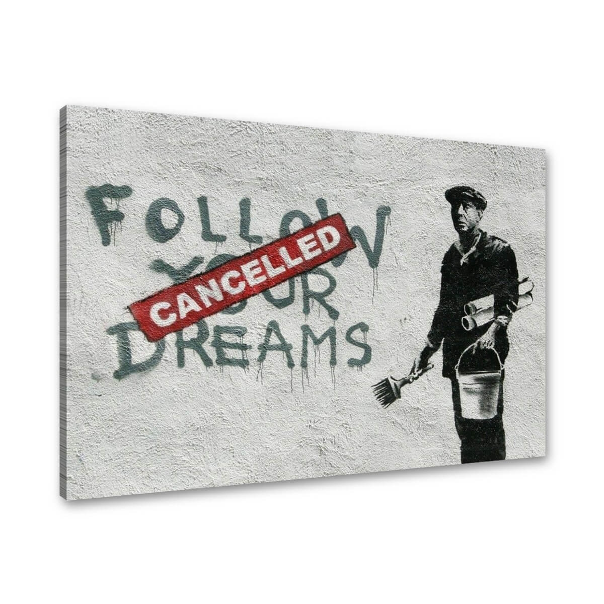 Tablou canvas graffiti arta stradala banksy follow your dreams pentru decor,  rama lemn, 80x60cm,  VSR4167