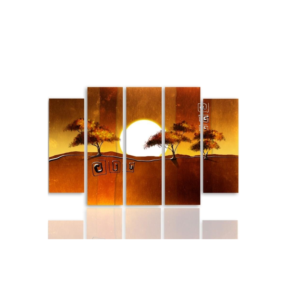 Five Part Picture On Canvas, Pentaptych, Type B, Trees At Sunrise100x150