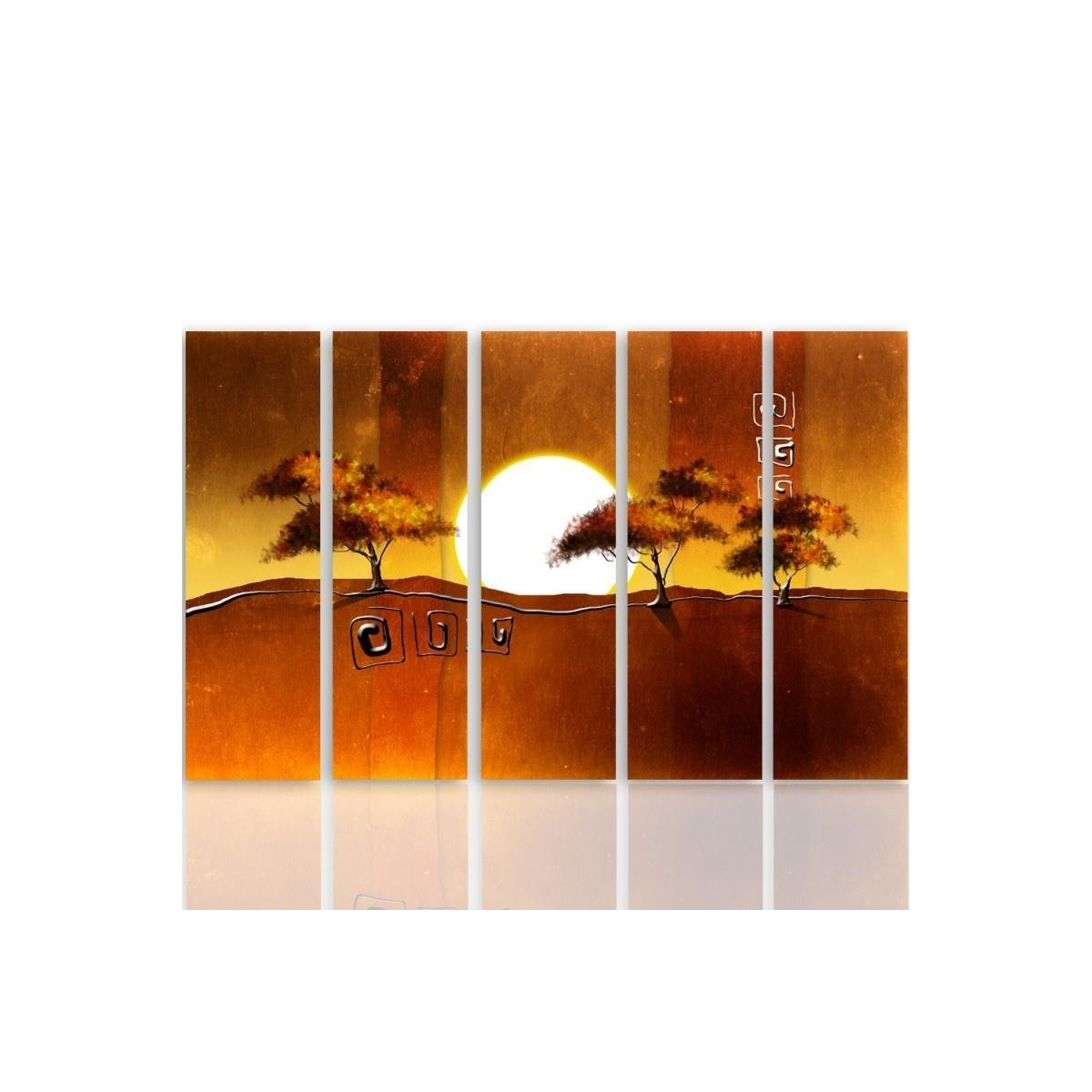 Five Part Picture On Canvas, Pentaptych, Type C, Trees At Sunrise 100x150