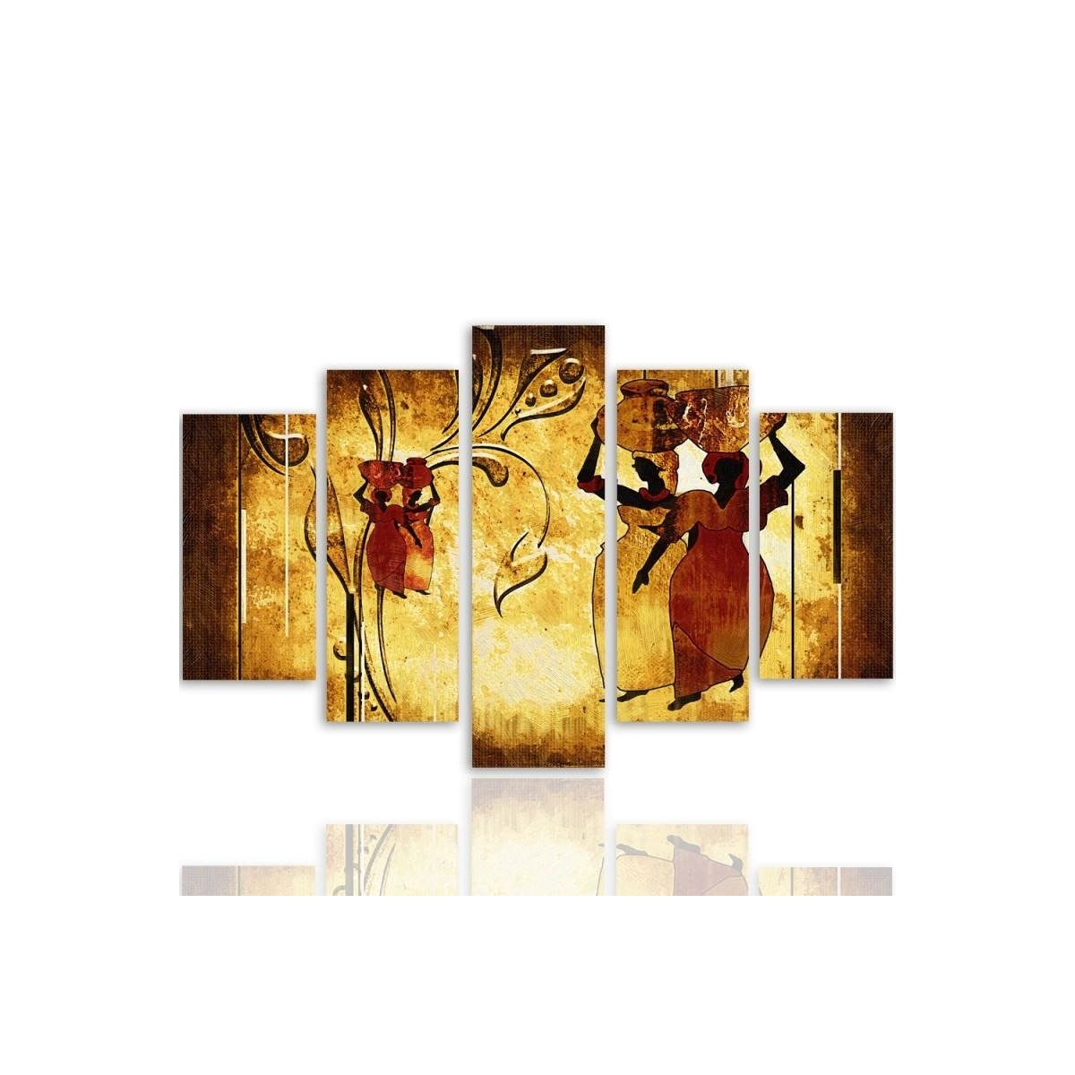 Five Part Picture On Canvas, Pentaptych, Type A, African 100x150