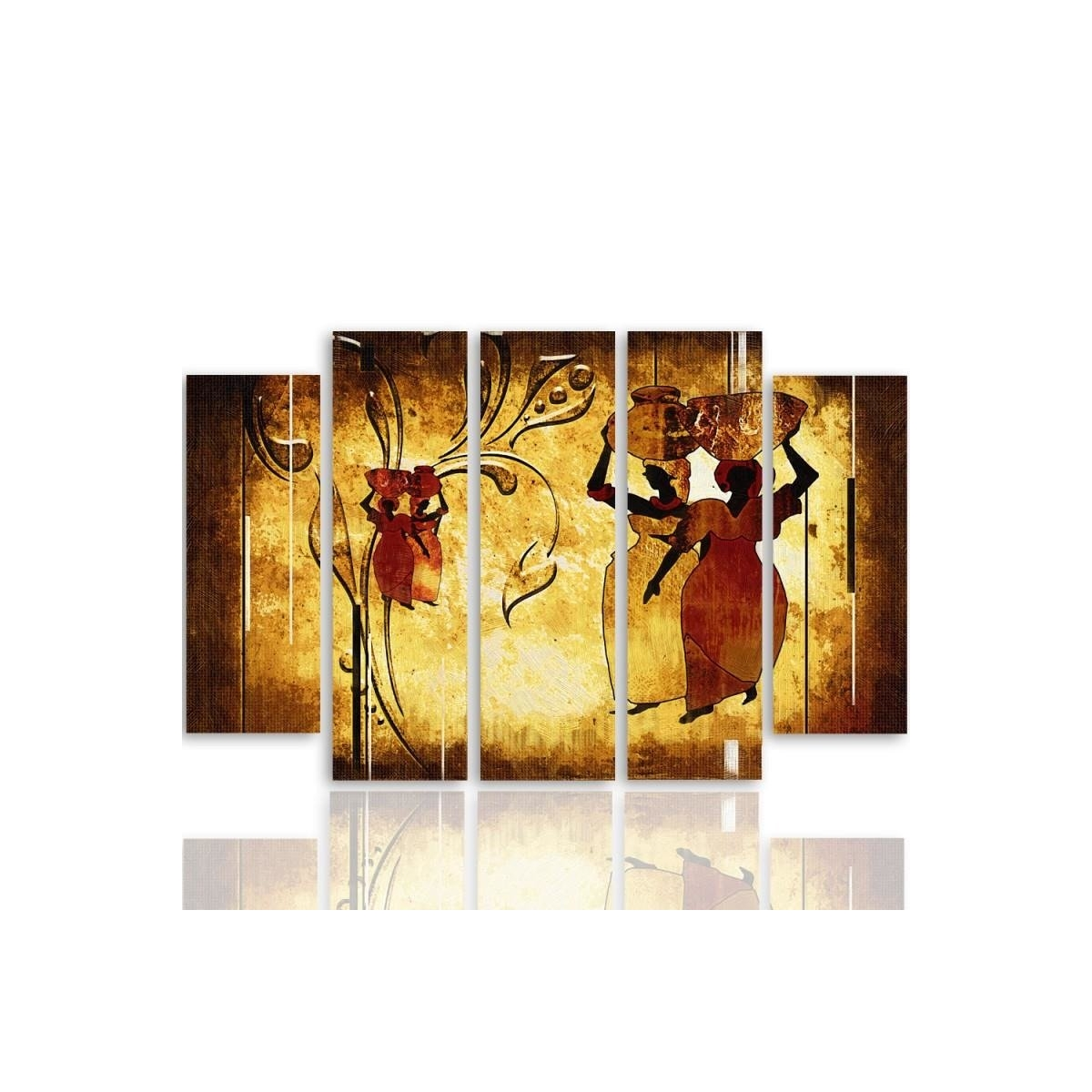 Five Part Picture On Canvas, Pentaptych, Type B, African 100x150