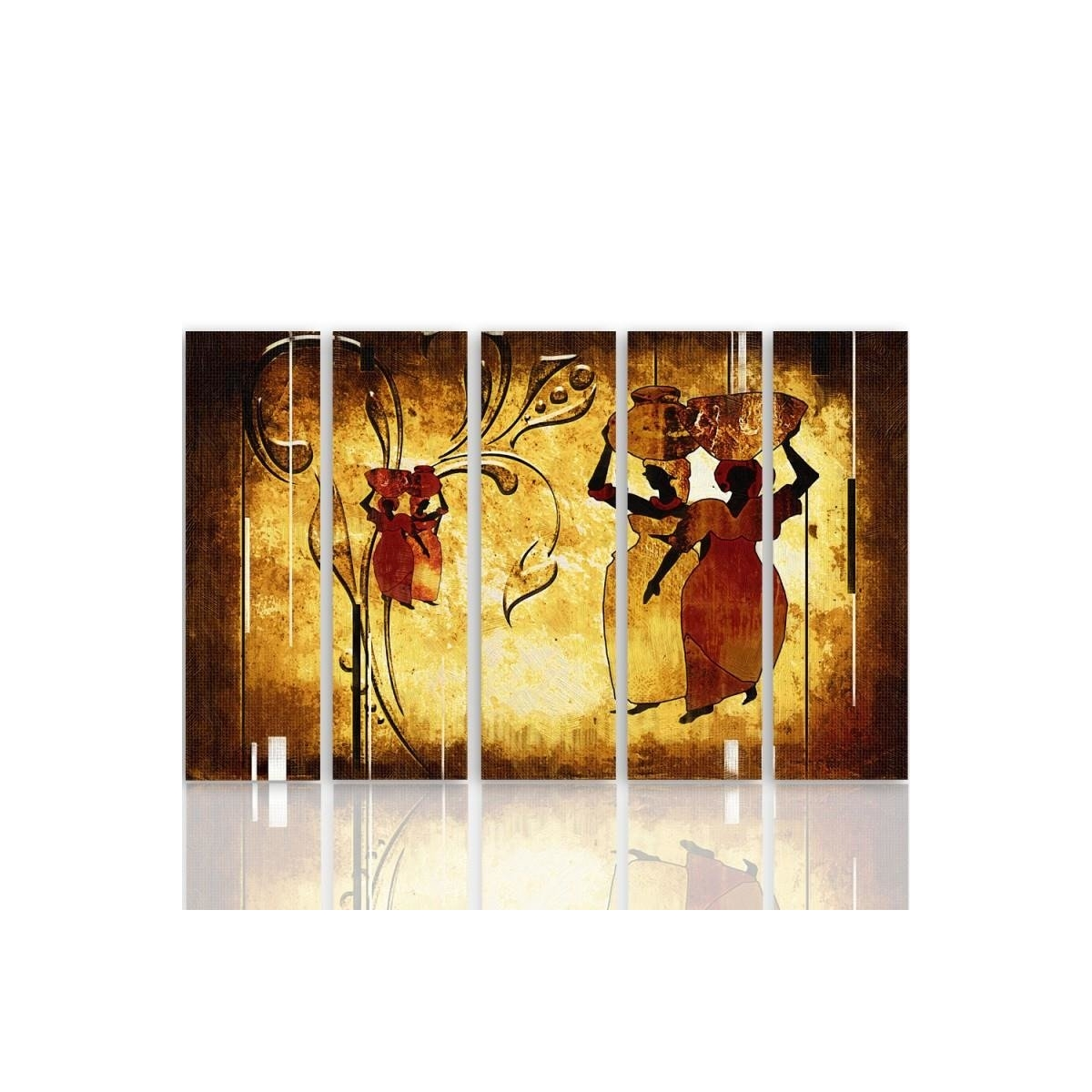 Five Part Picture On Canvas, Pentaptych, Type C, African 100x150