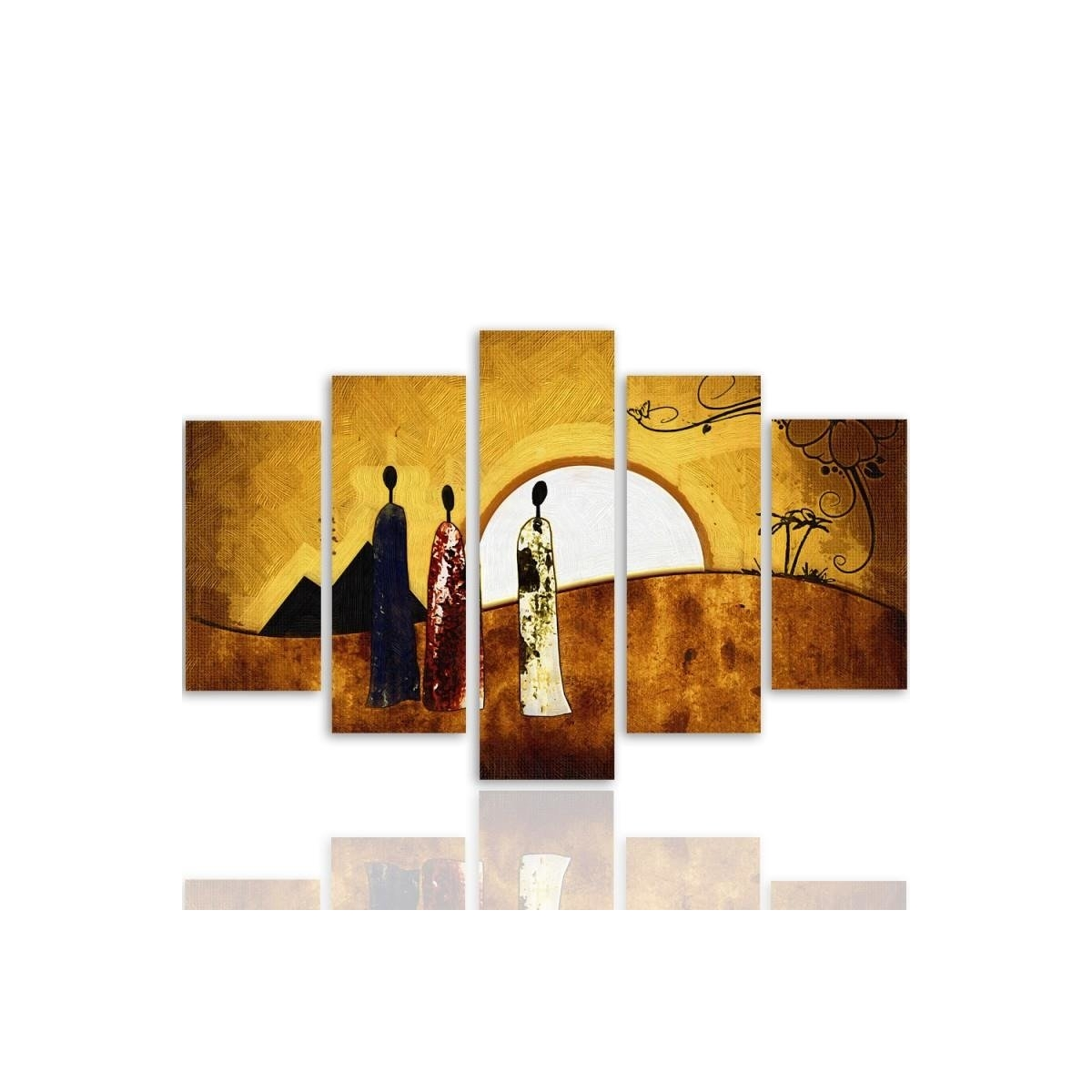 Five Part Picture On Canvas, Pentaptych, Type A, Sunny Egypt 100x150