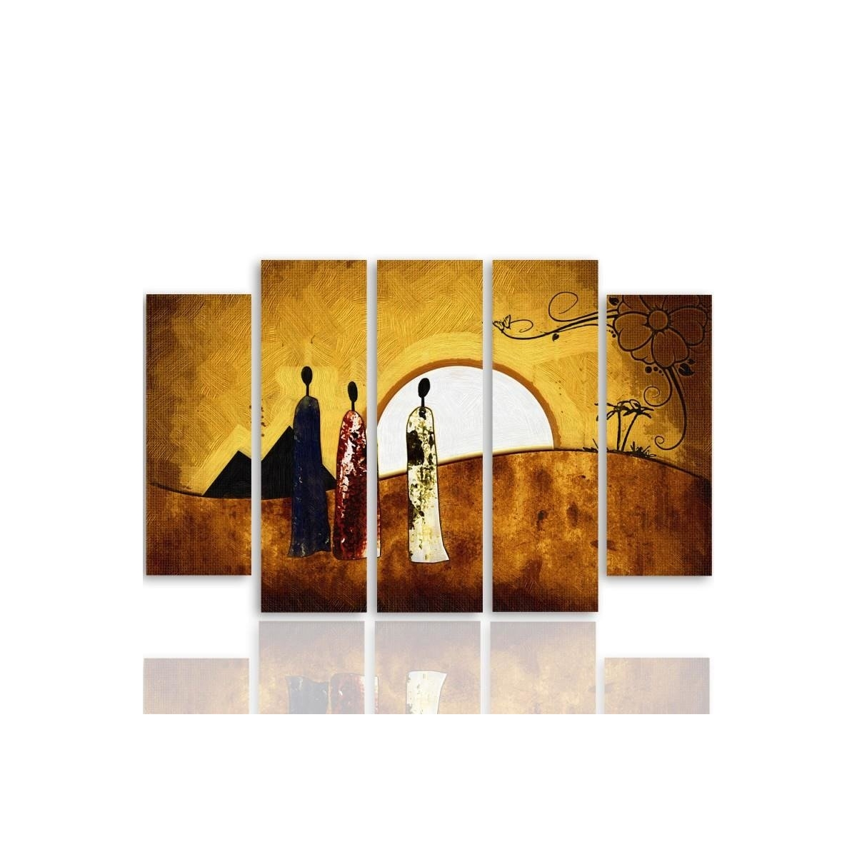 Five Part Picture On Canvas, Pentaptych, Type B, Sunny Egypt100x150