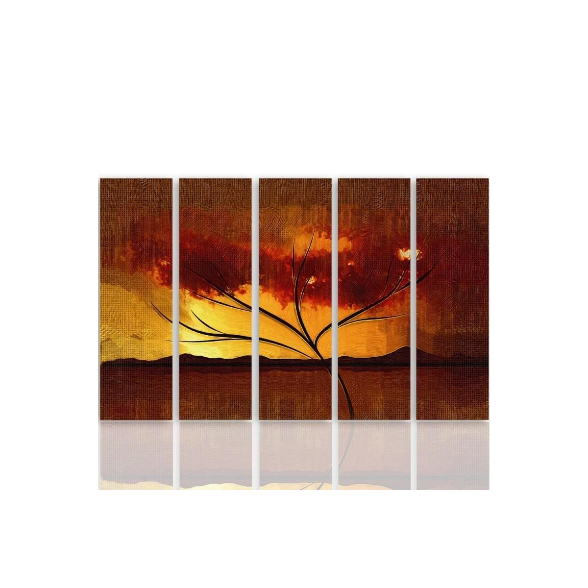 Five Part Picture On Canvas, Pentaptych, Type C, Dry Tree100x150