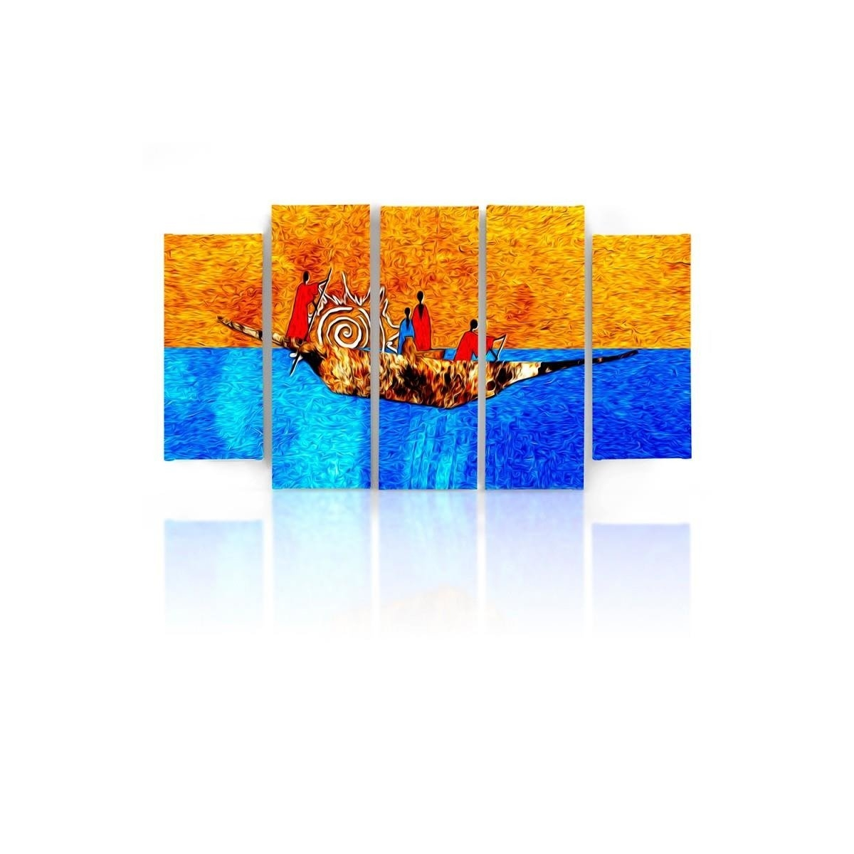 Five Part Picture On Canvas, Pentaptych, Type B, On The Boat100x150