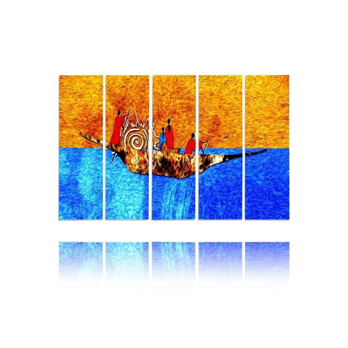 Five Part Picture On Canvas, Pentaptych, Type C, On The Boat 100x150