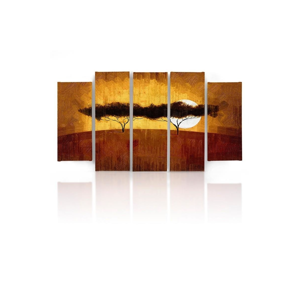 Five Part Picture On Canvas, Pentaptych, Type B, Two Trees100x150
