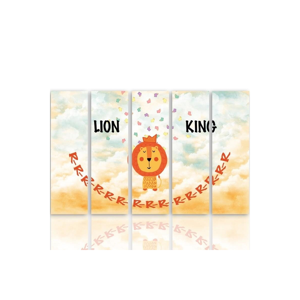 Five Part Picture On Canvas, Pentaptych, Type C, The Lion King 100x150