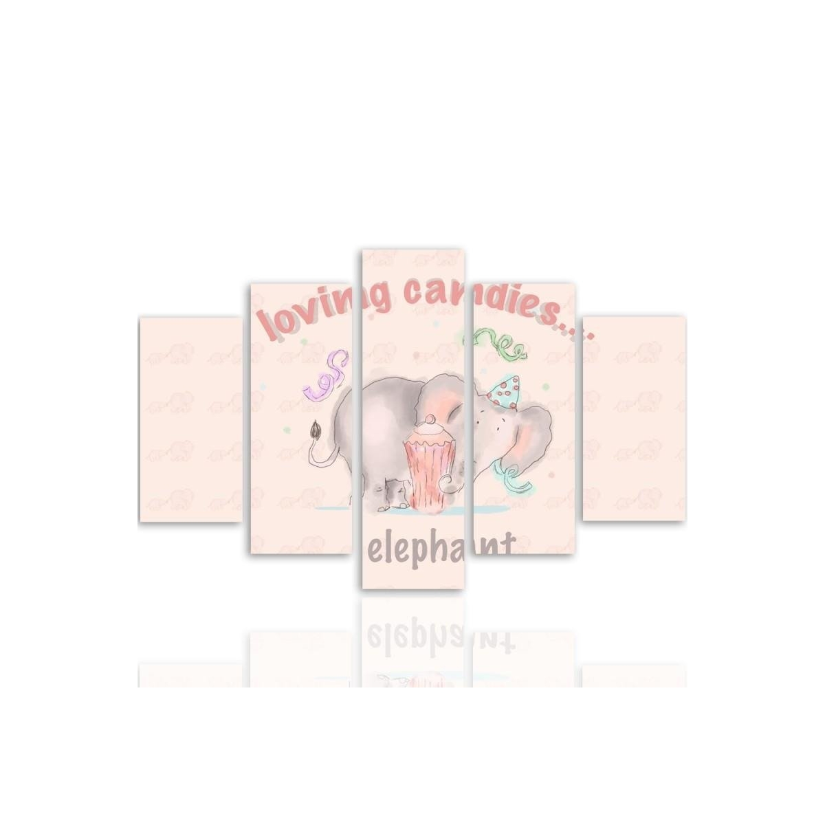Five Part Picture On Canvas, Pentaptych, Type A, Loving Candies Elephant 100x150