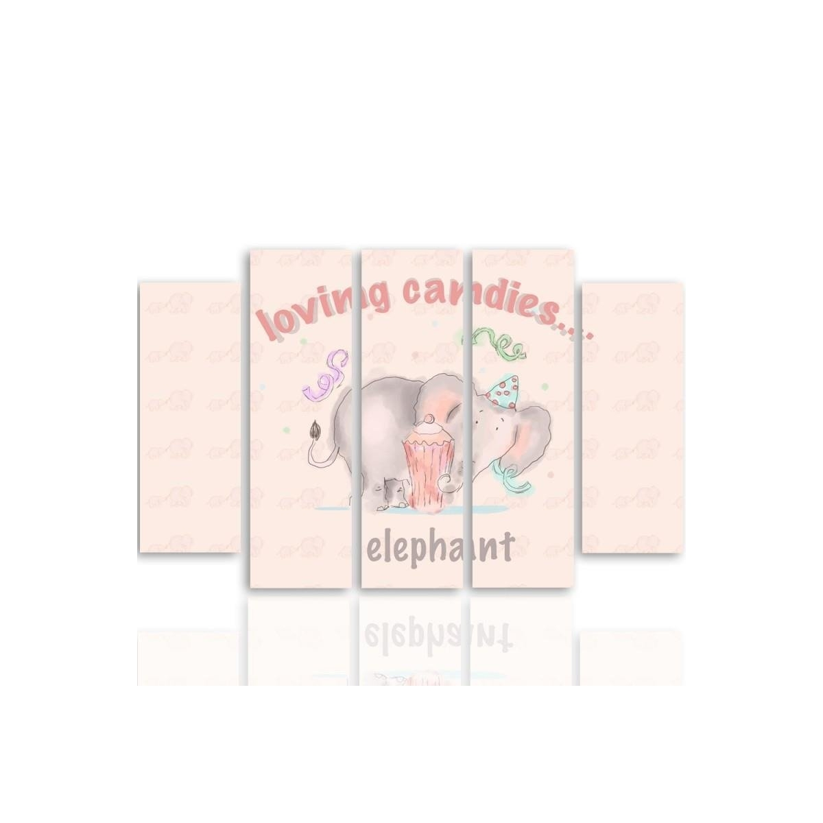 Five Part Picture On Canvas, Pentaptych, Type B, Loving Candies Elephant 100x150