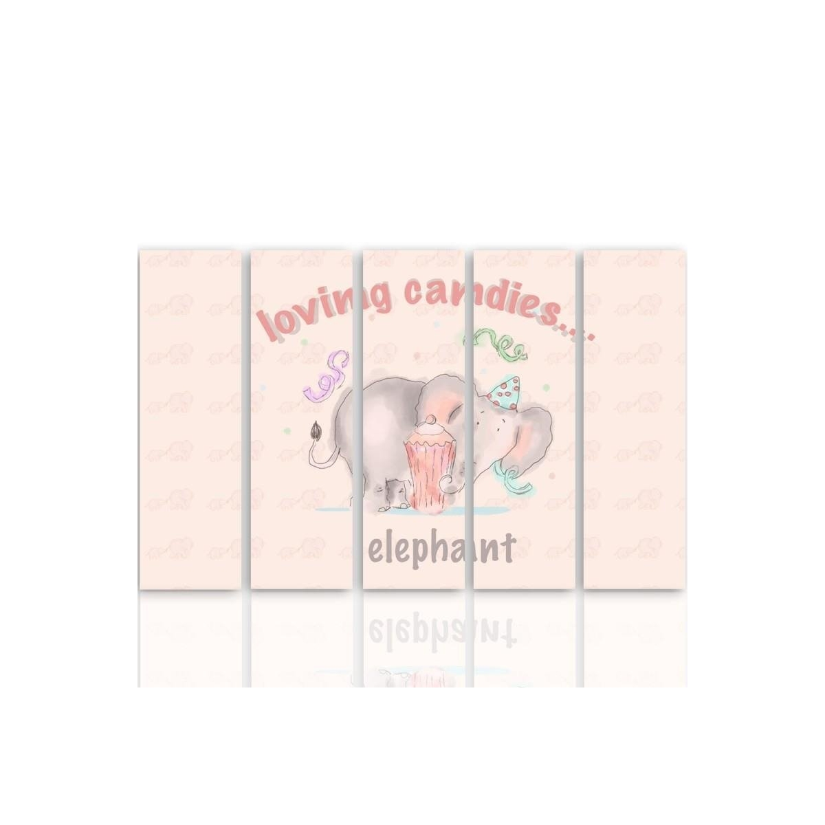 Five Part Picture On Canvas, Pentaptych, Type C, Loving Candies Elephant 100x150