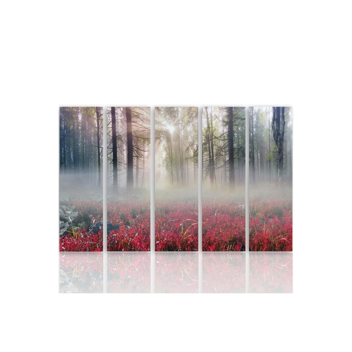 Five Part Picture On Canvas, Pentaptych, Type C, Mist Over The Clearing 100x150