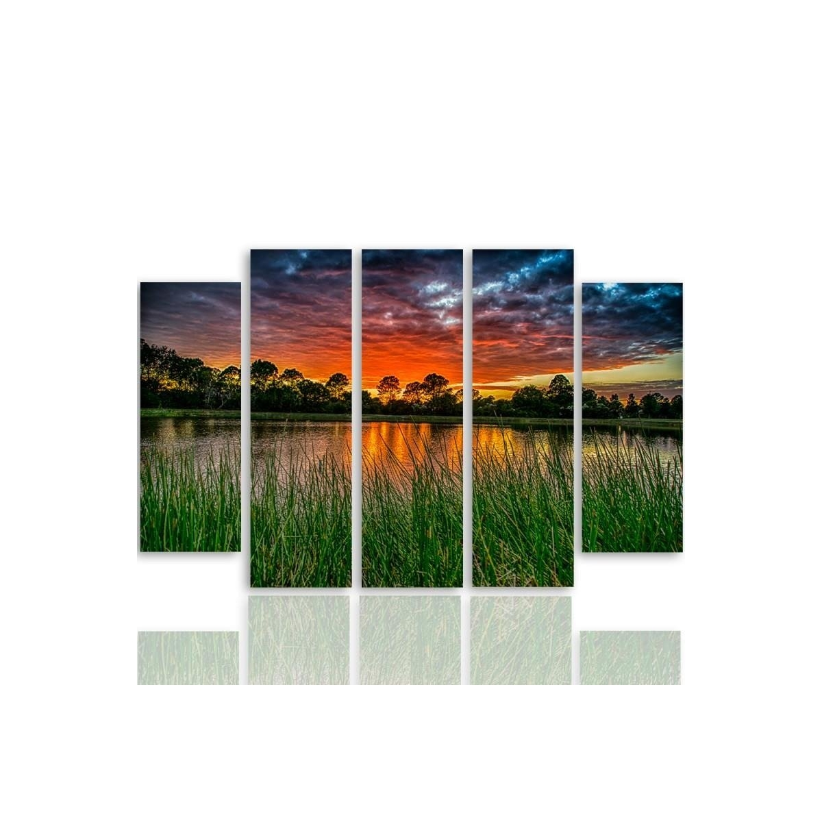 Five Part Picture On Canvas, Pentaptych, Type B, Sunset Over The Water 3 100x150