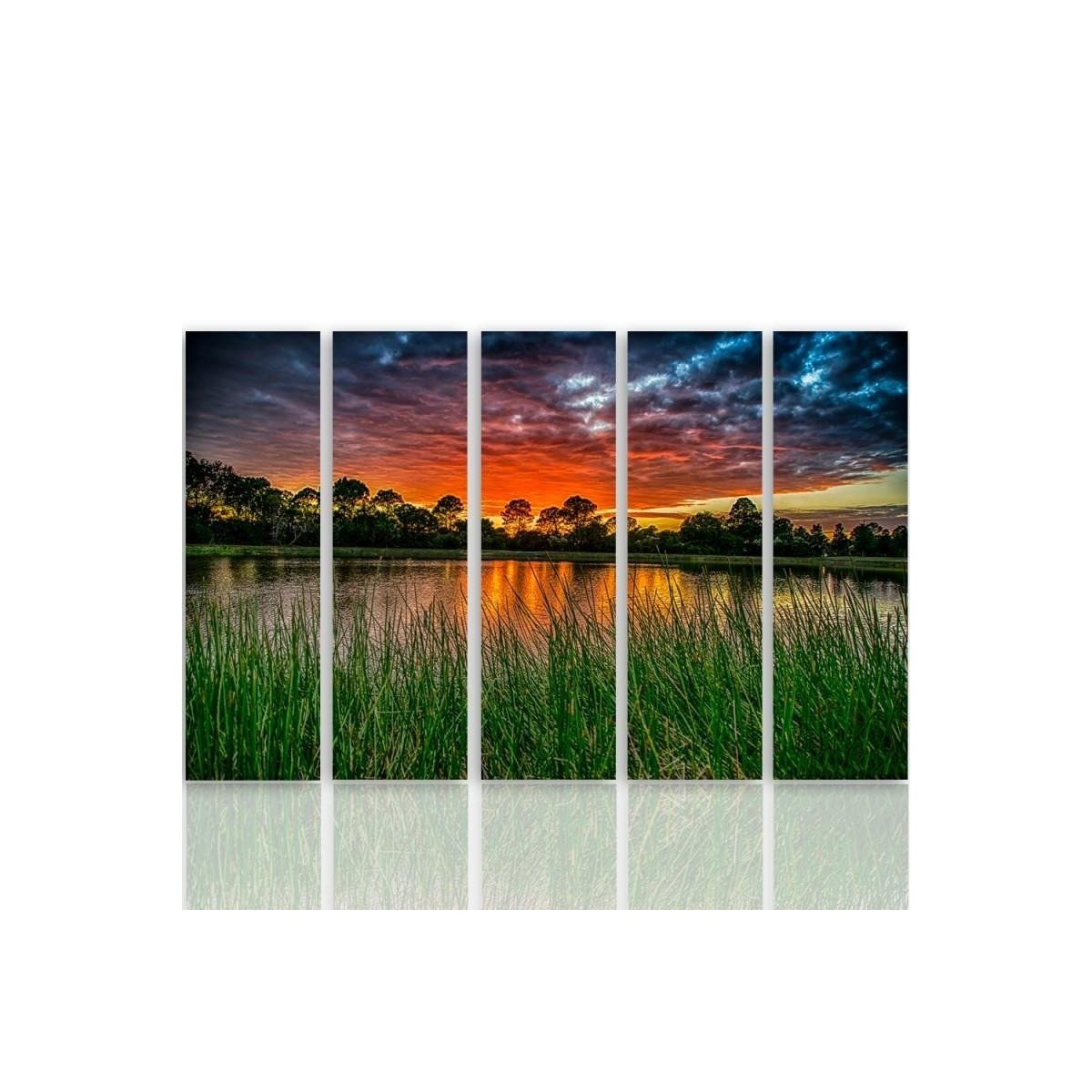 Five Part Picture On Canvas, Pentaptych, Type C, Sunset Over The Water 3 100x150