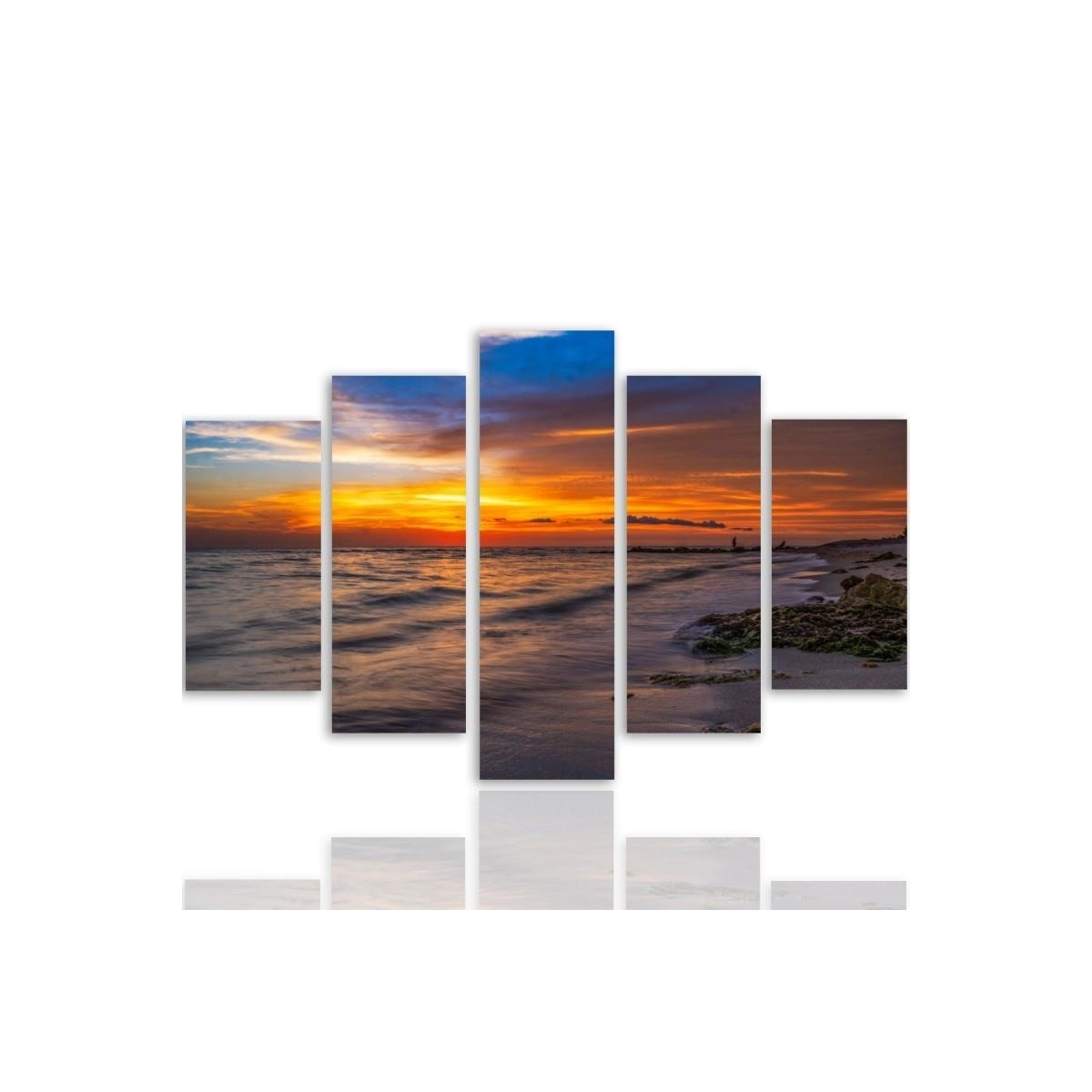 Five Part Picture On Canvas, Pentaptych, Type A, Sunset On The Beach 3 100x150