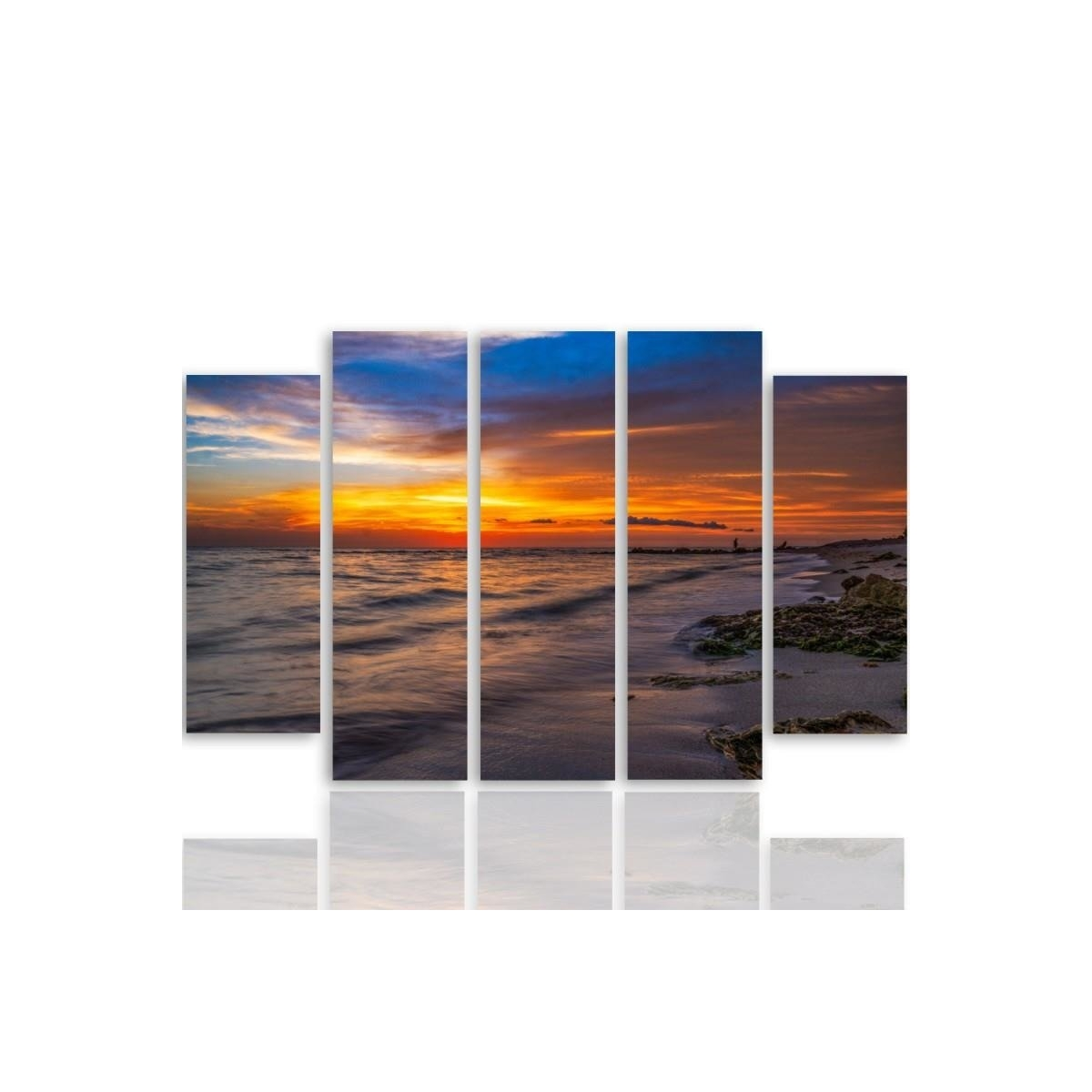 Five Part Picture On Canvas, Pentaptych, Type B, Sunset On The Beach 3 100x150