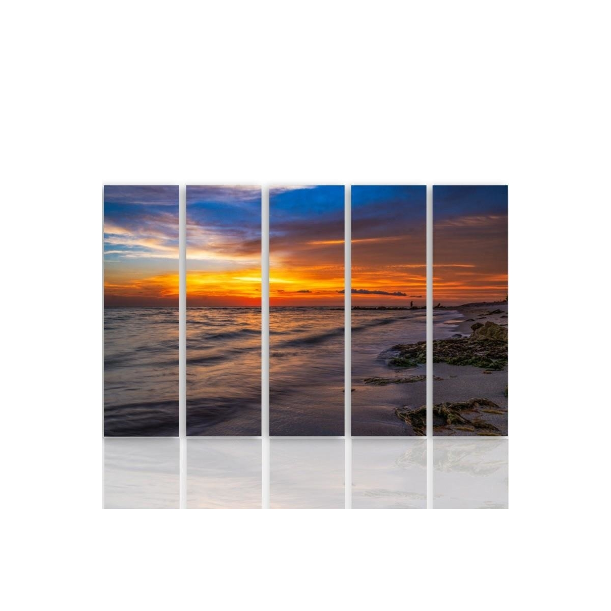 Five Part Picture On Canvas, Pentaptych, Type C, Sunset On The Beach 3 100x150