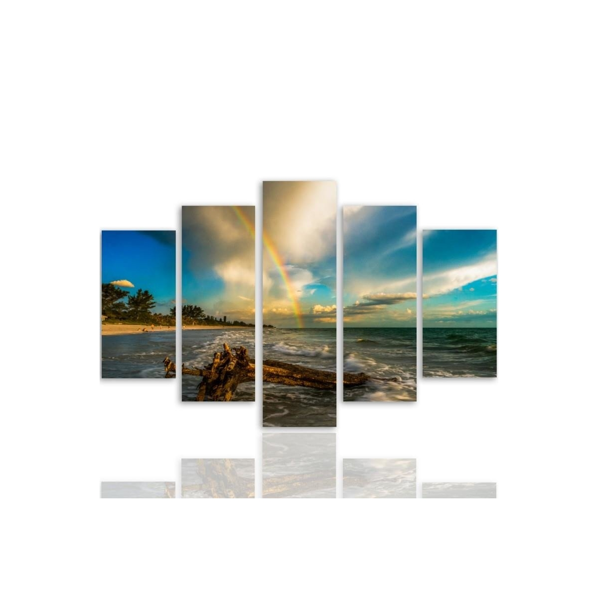Five Part Picture On Canvas, Pentaptych, Type A, Rainbow Over The Beach 100x150