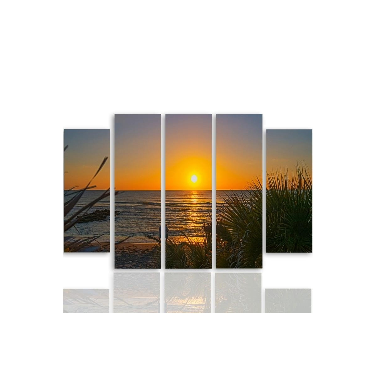Five Part Picture On Canvas, Pentaptych, Type B, Sunset On The Beach 2100x150