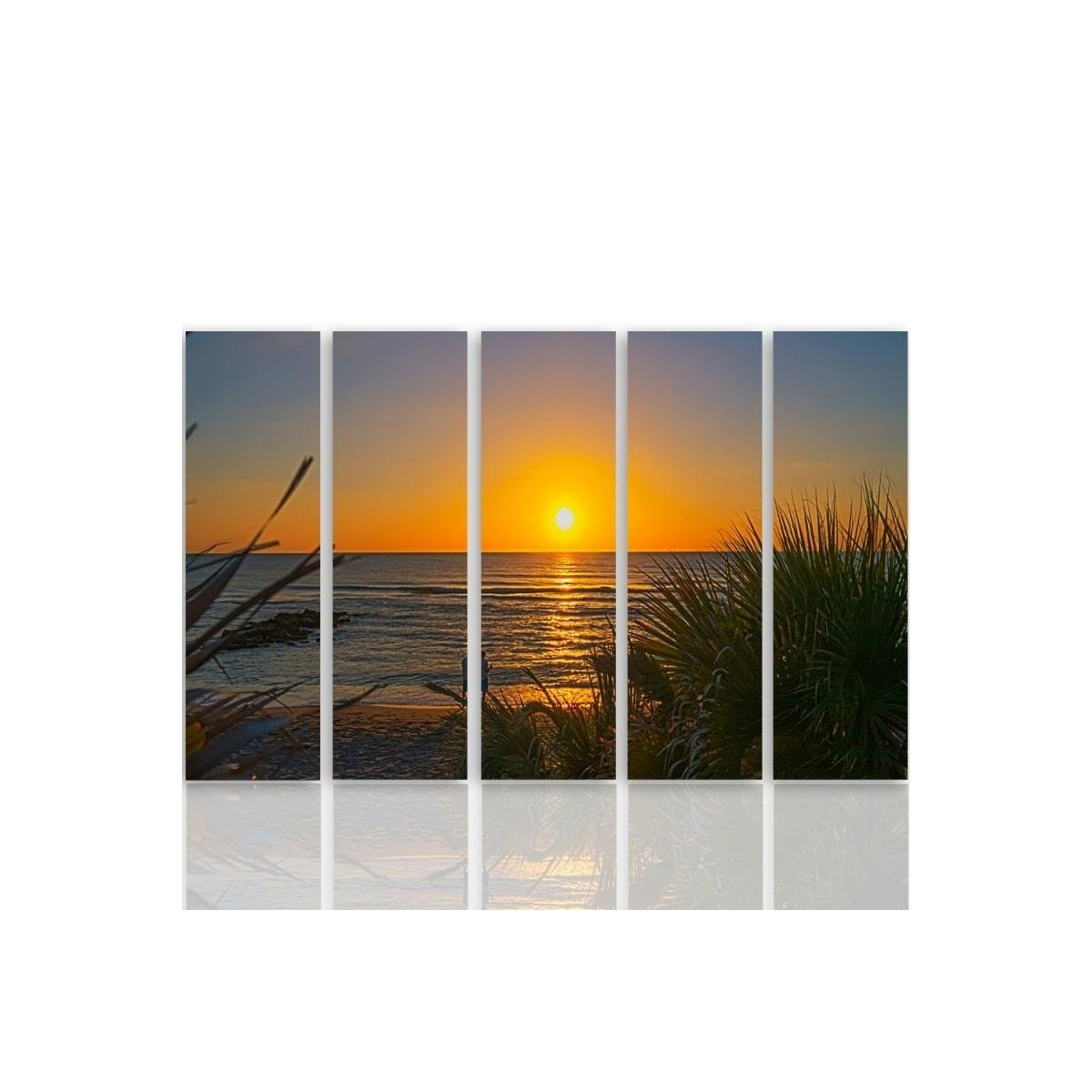 Five Part Picture On Canvas, Pentaptych, Type C, Sunset On The Beach 2100x150