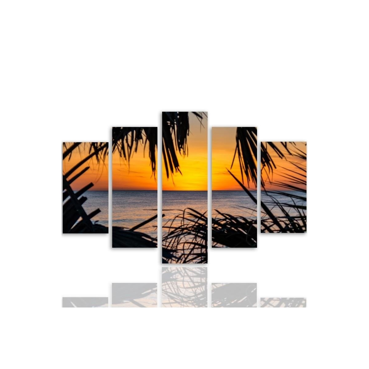 Five Part Picture On Canvas, Pentaptych, Type A, Sunset Over The Sea100x150
