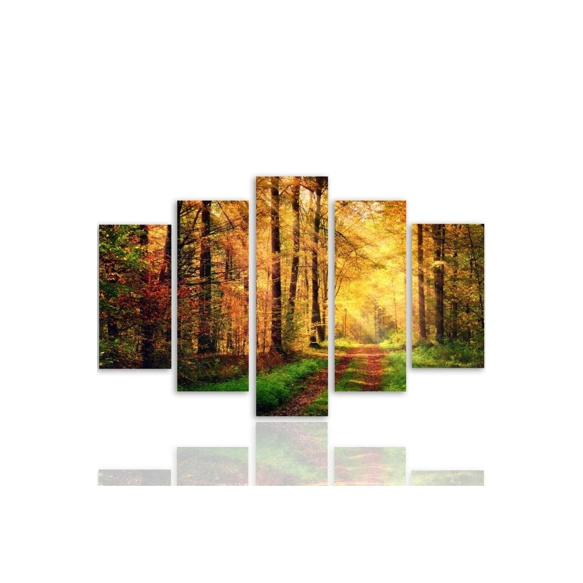 Five Part Picture On Canvas, Pentaptych, Type A, Forest Road100x150