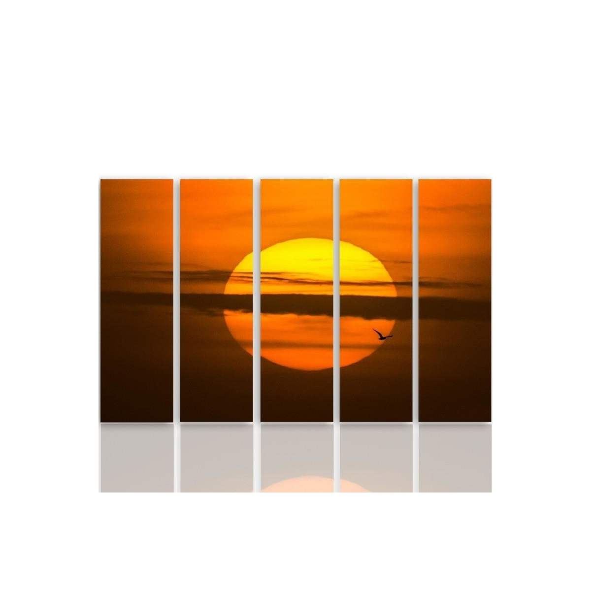 Five Part Picture On Canvas, Pentaptych, Type C, The Setting Sun100x150