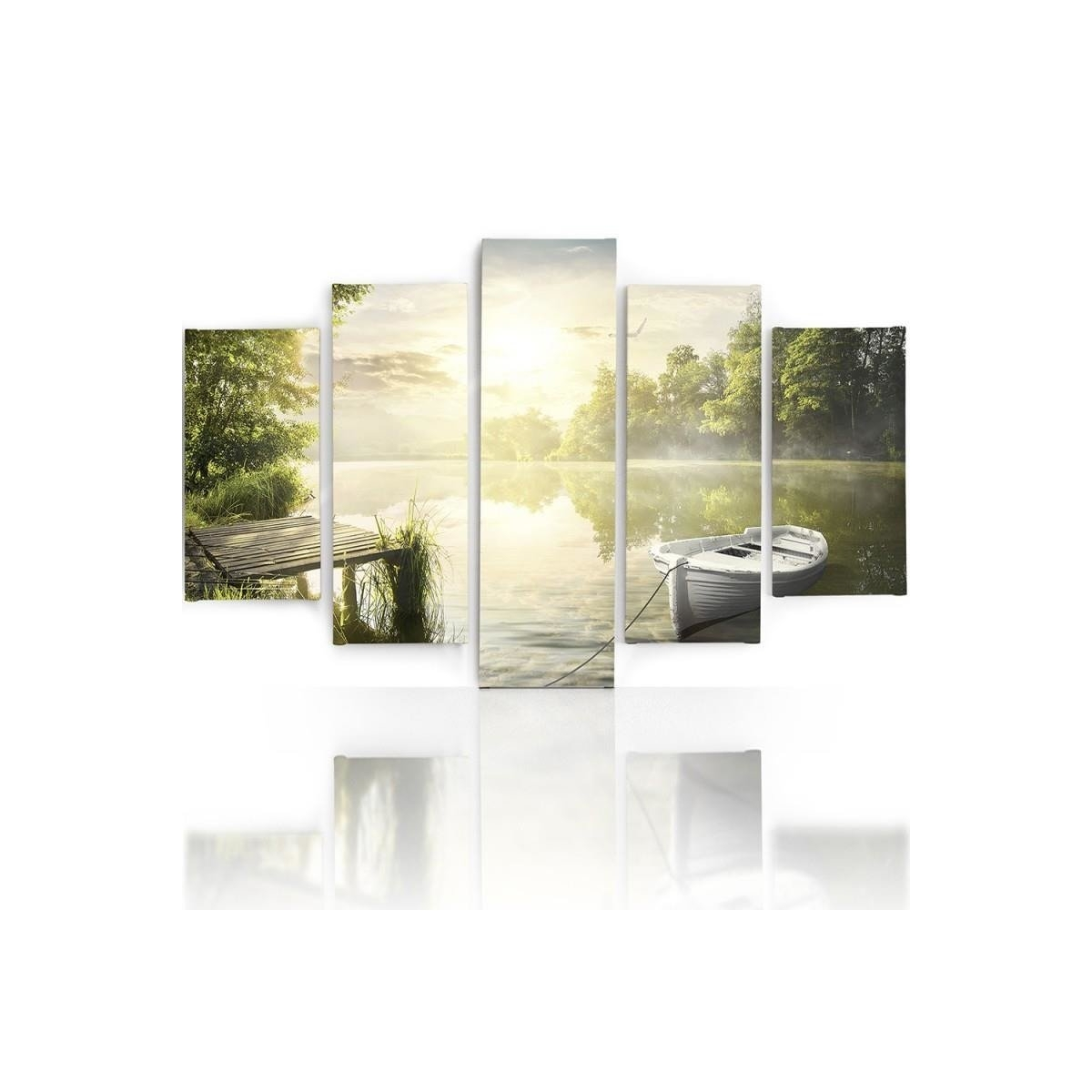 Five Part Picture On Canvas, Pentaptych, Type A, East Lake100x150
