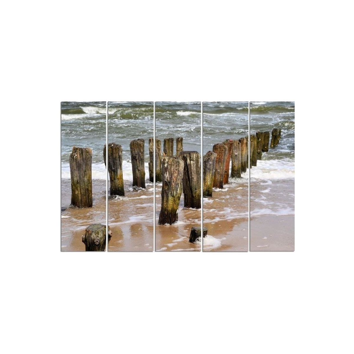 Five Part Picture On Canvas, Pentaptych, Type C, Breakwaters On The Beach100x150