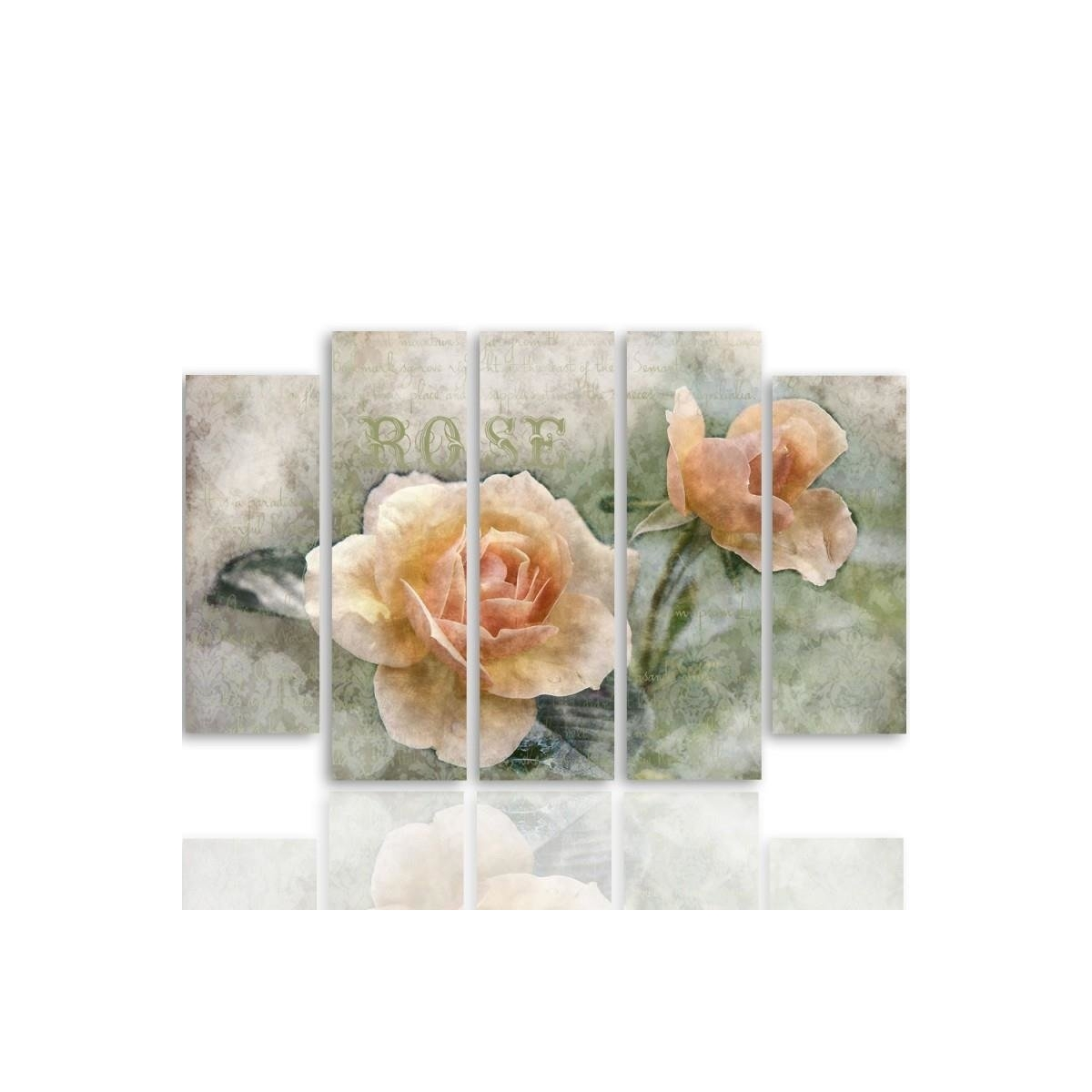 Five Part Picture On Canvas, Pentaptych, Type B, Tea Roses 100x150