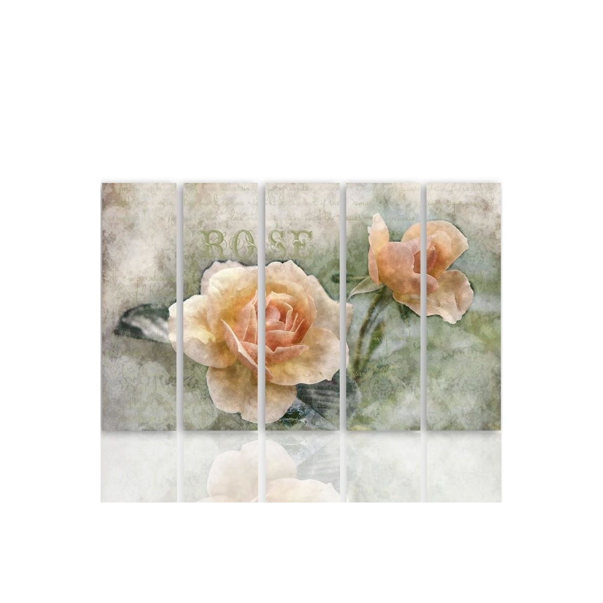 Five Part Picture On Canvas, Pentaptych, Type C, Tea Roses 100x150