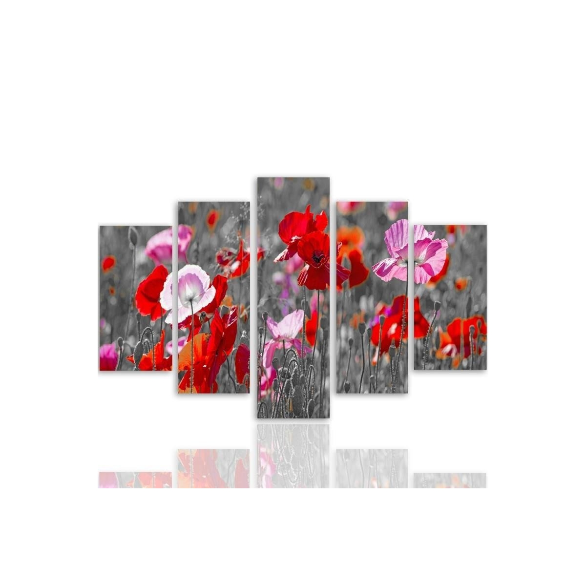 Five Part Picture On Canvas, Pentaptych, Type A, Red Poppies 100x150
