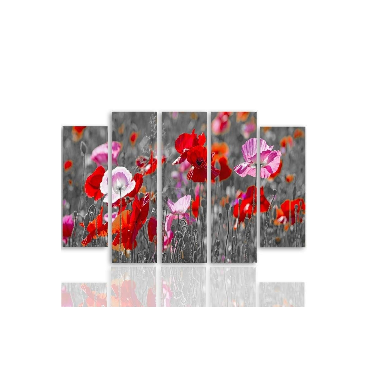 Five Part Picture On Canvas, Pentaptych, Type B, Red Poppies 100x150