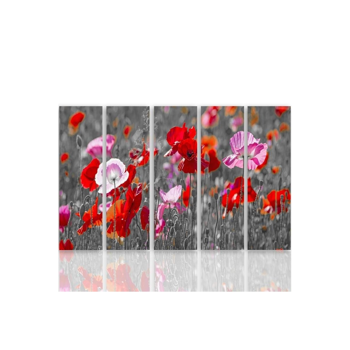 Five Part Picture On Canvas, Pentaptych, Type C, Red Poppies 100x150