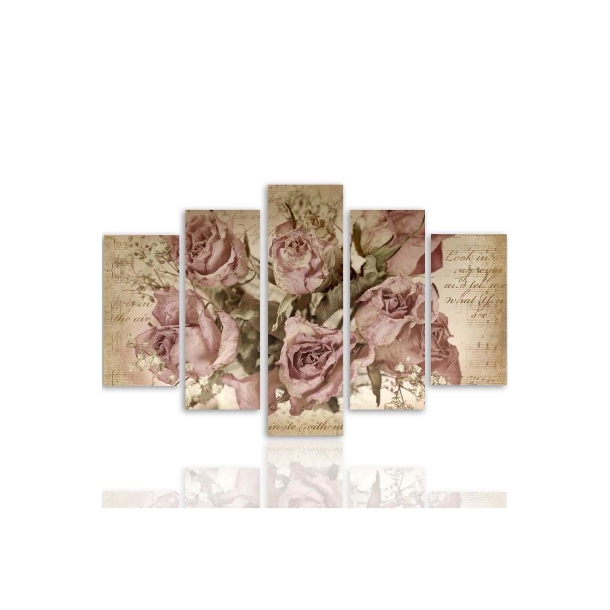 Five Part Picture On Canvas, Pentaptych, Type A, Roses On The Background Of Musical Notation 100x150