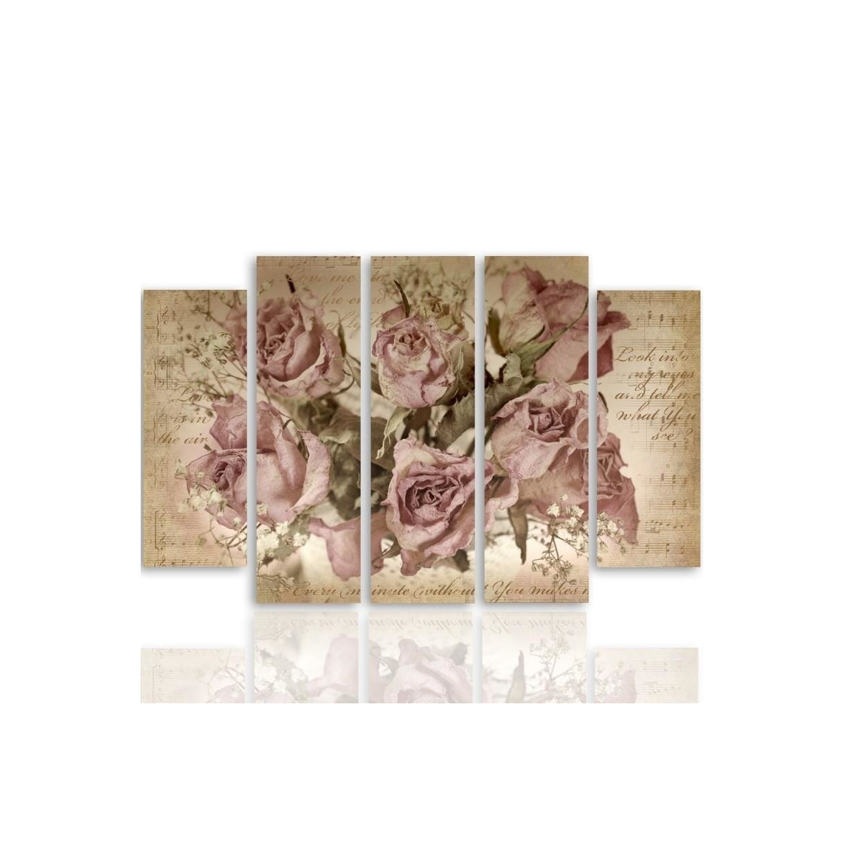 Five Part Picture On Canvas, Pentaptych, Type B, Roses On The Background Of Musical Notation 100x150