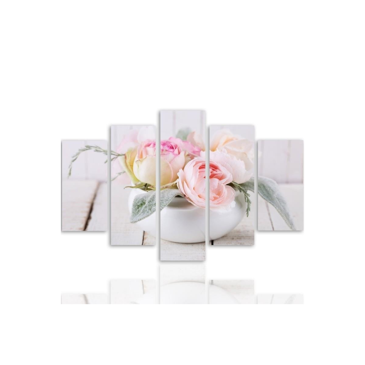Five Part Picture On Canvas, Pentaptych, Type A, Roses In A Dish100x150
