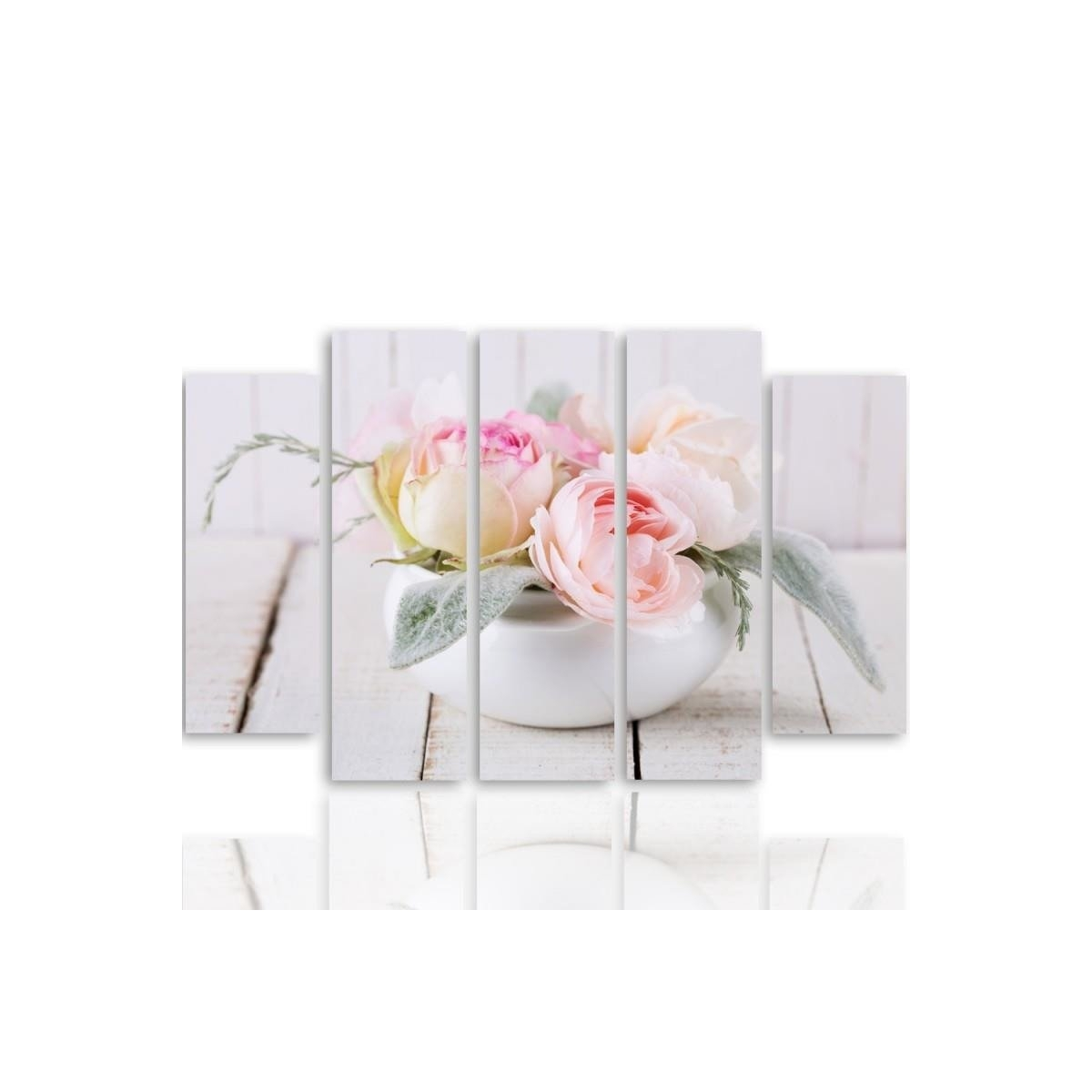 Five Part Picture On Canvas, Pentaptych, Type B, Roses In A Dish100x150