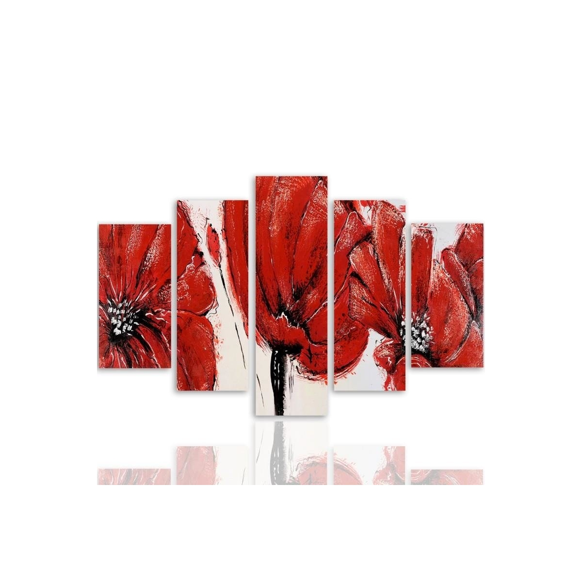 Five Part Picture On Canvas, Pentaptych, Type A, Red Flowers 100x150