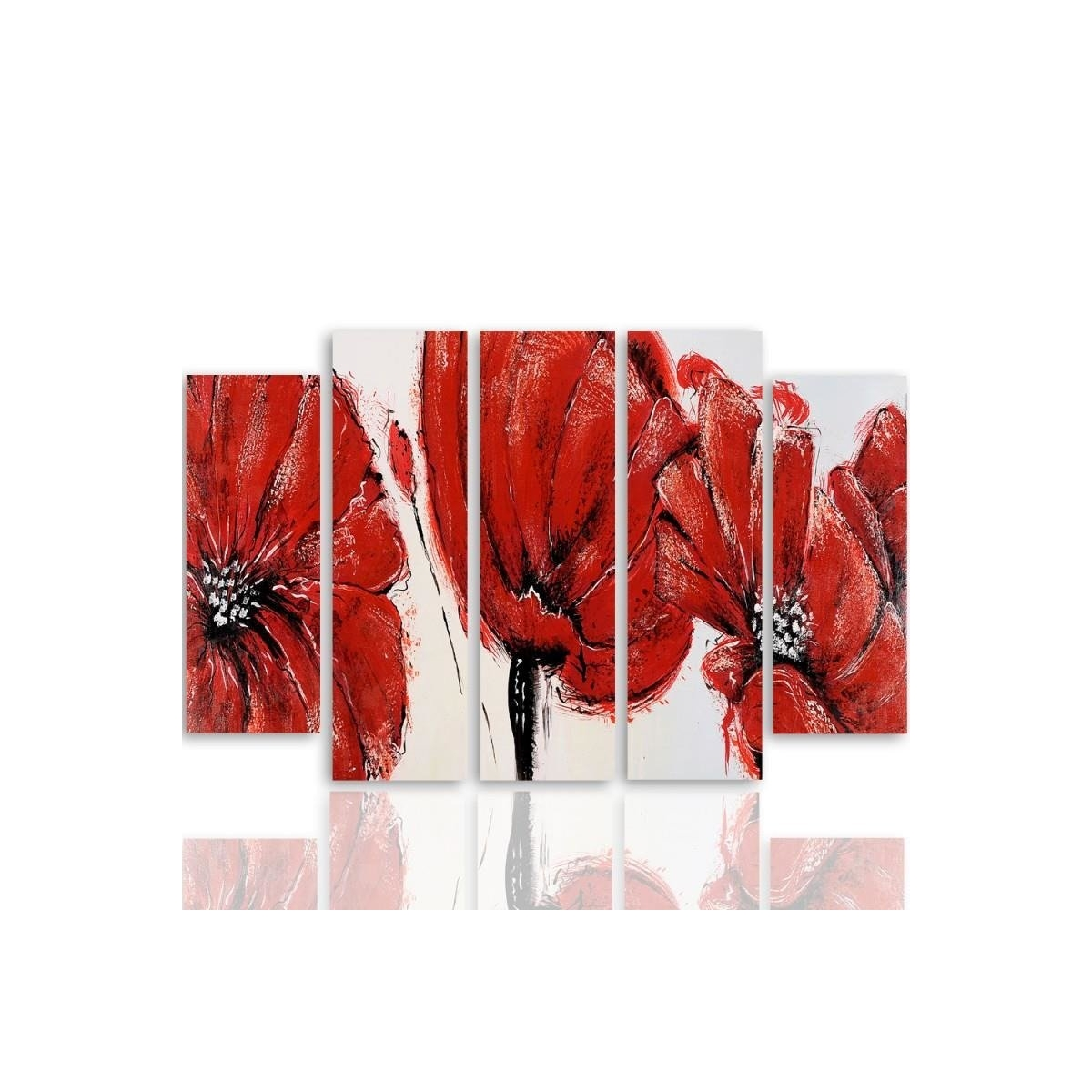 Five Part Picture On Canvas, Pentaptych, Type B, Red Flowers100x150