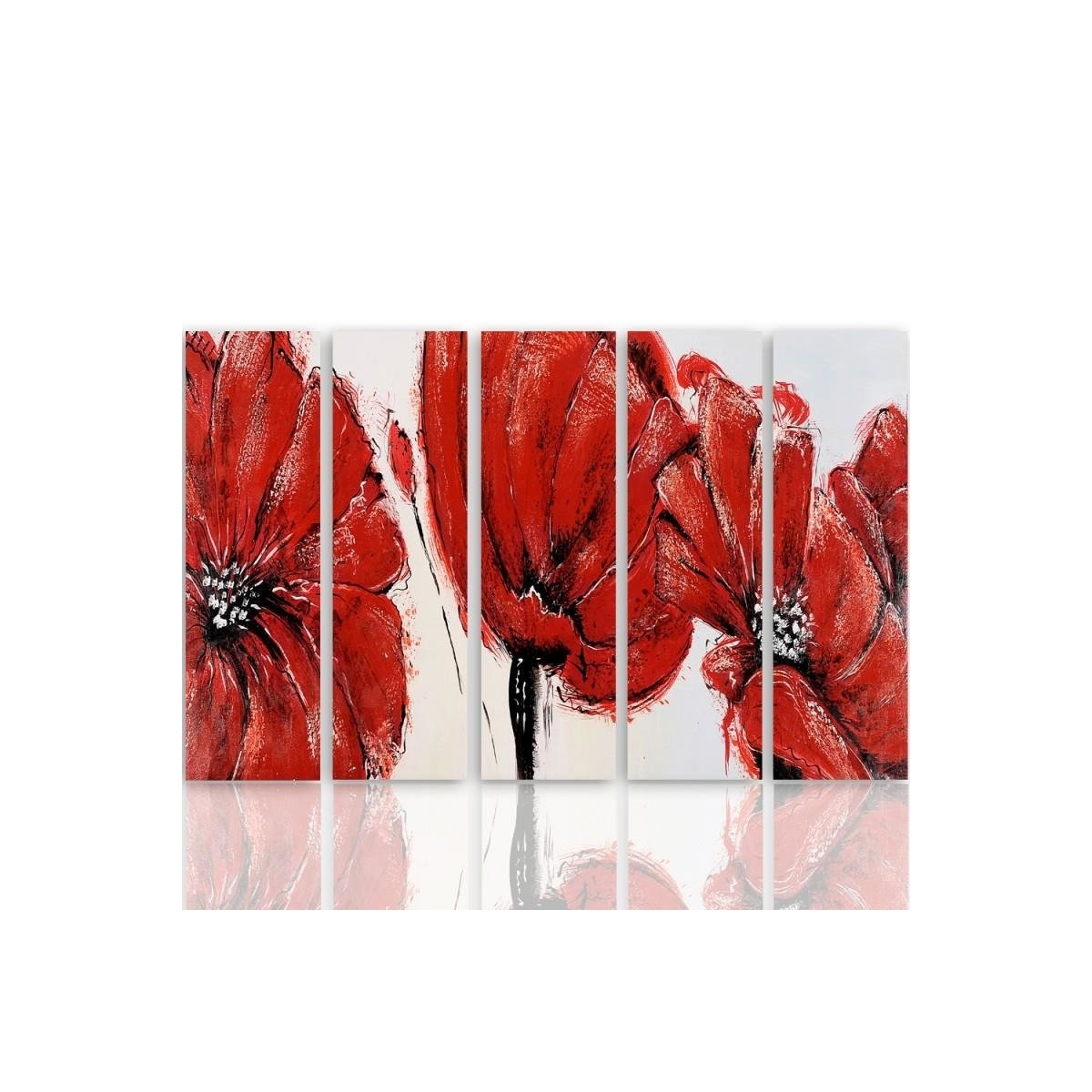 Five Part Picture On Canvas, Pentaptych, Type C, Red Flowers100x150