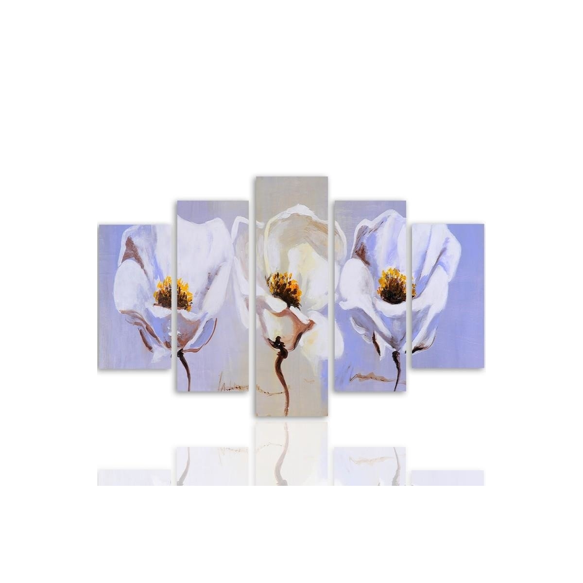 Five Part Picture On Canvas, Pentaptych, Type A, Three Flowers100x150