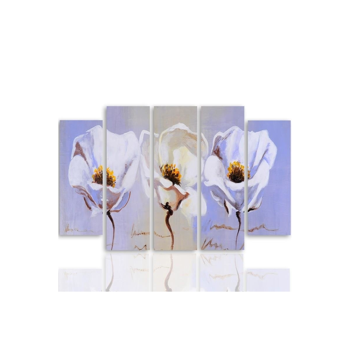 Five Part Picture On Canvas, Pentaptych, Type B, Three Flowers100x150