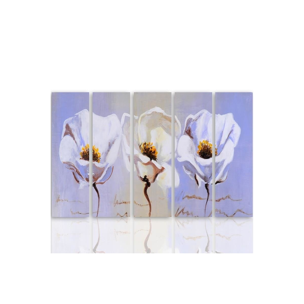 Five Part Picture On Canvas, Pentaptych, Type C, Three Flowers100x150