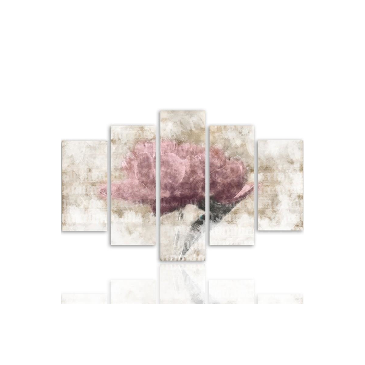 Five Part Picture On Canvas, Pentaptych, Type A, Pastel Flower100x150