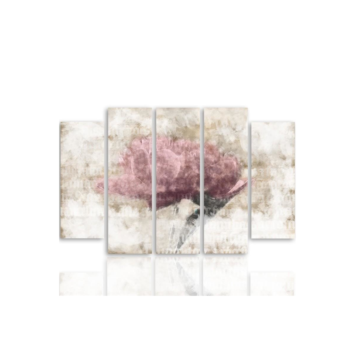 Five Part Picture On Canvas, Pentaptych, Type B, Pastel Flower100x150