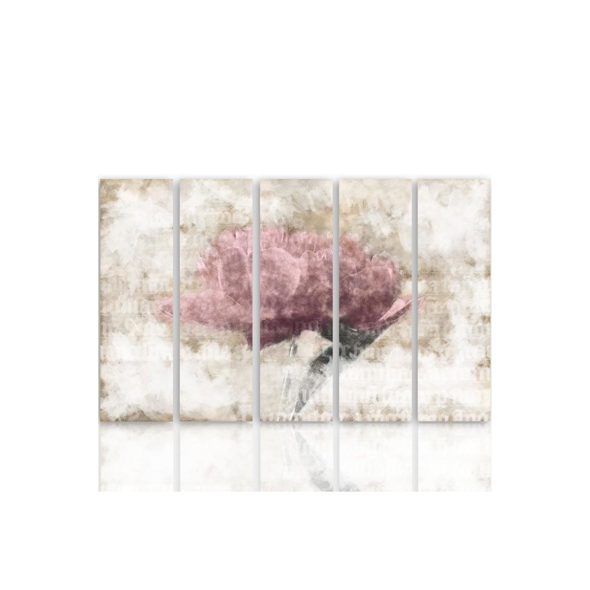 Five Part Picture On Canvas, Pentaptych, Type C, Pastel Flower100x150