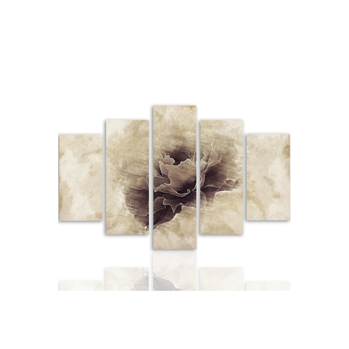 Five Part Picture On Canvas, Pentaptych, Type A, Gray Flower100x150