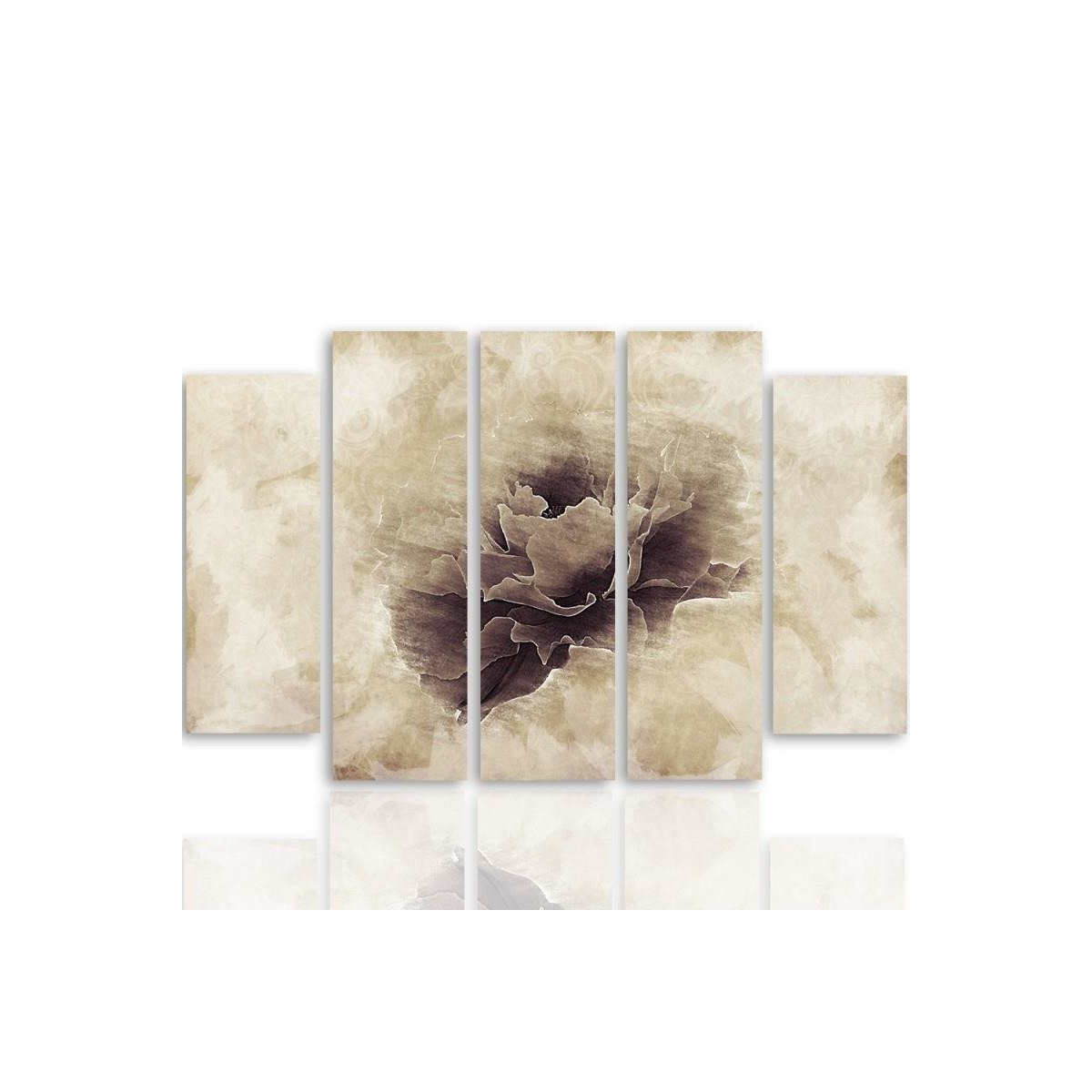 Five Part Picture On Canvas, Pentaptych, Type B, Gray Flower100x150